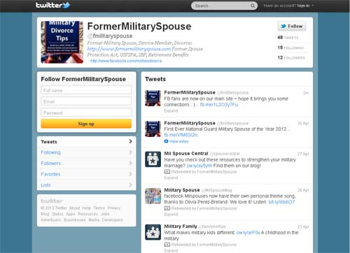 Twitter - military divorce / former military spouse